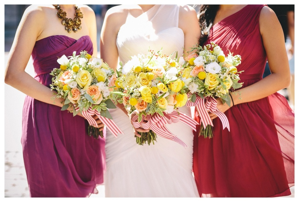 Yellow and Peach Bouquets with Berry Dresses