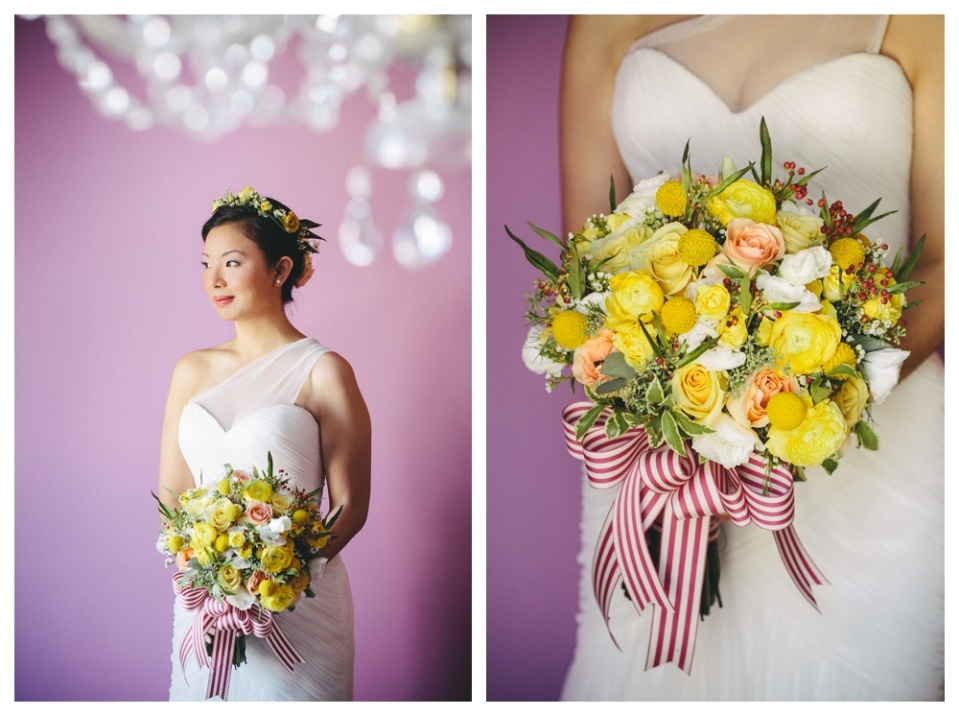 Yellow, Peach and Berry Bridal Bouquet