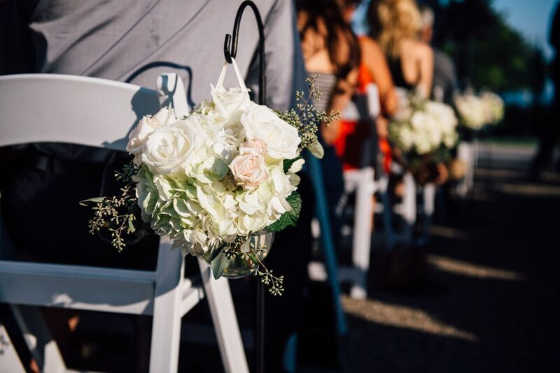Aisle Markers of Hydrangea, Roses, Spray Roses & Greenery
