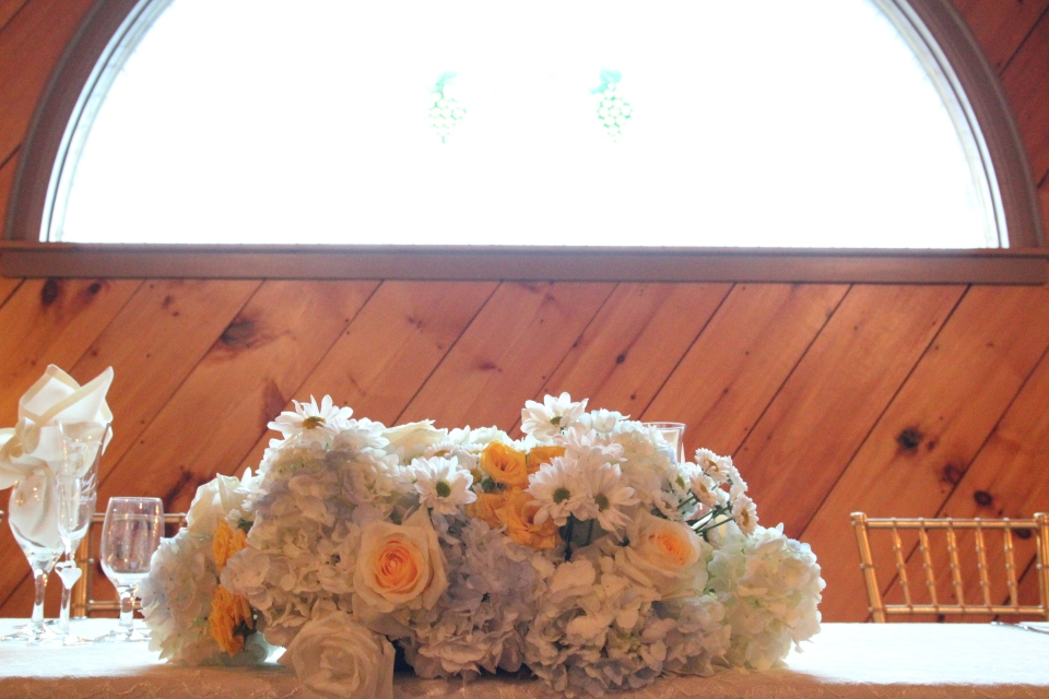 Head table arrangement of wildflowers
