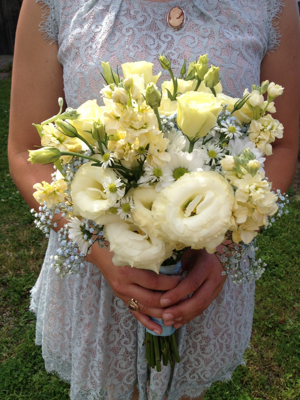 Soft Yellow Bridesmaid Bouquet of lisianthus, stock, daisies and baby's breath
