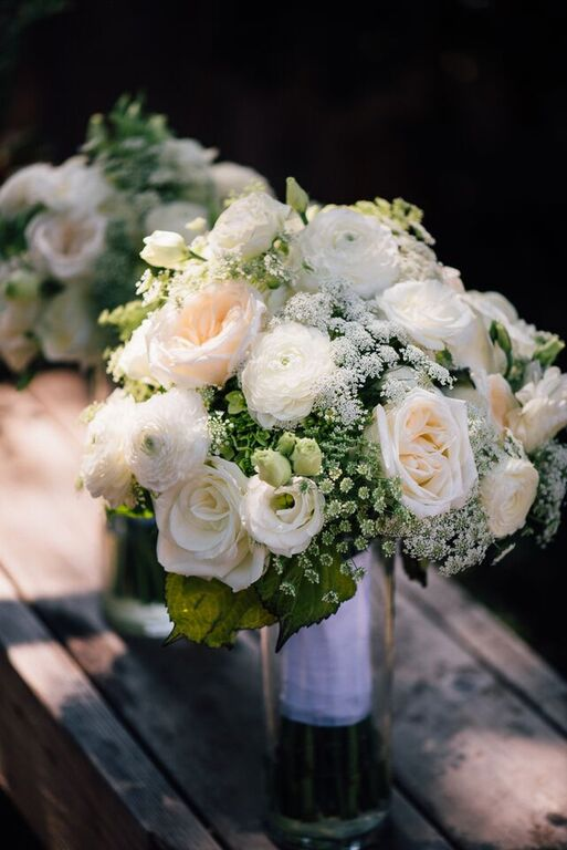 White Bouquet of Garden Roses, Ranunculus, Lisianthus & Queen Anne's Lace