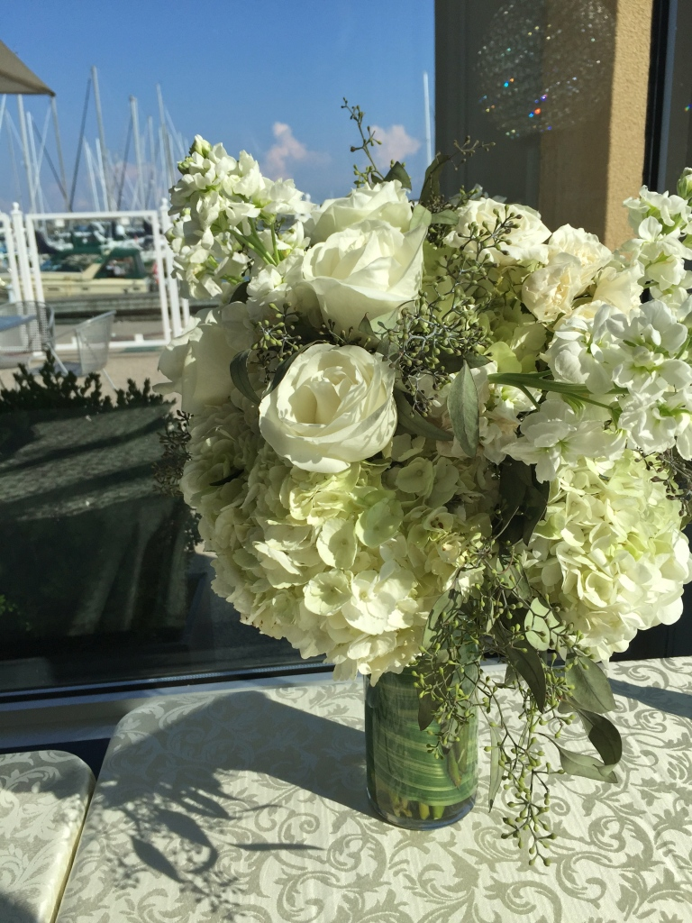 White Centerpiece of Hydrangea, Roses, Spray Roses, Stock & Seeded Eucalyptus
