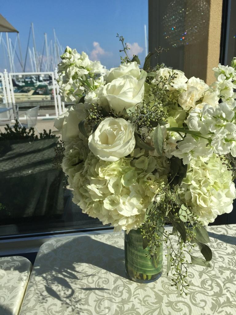 White Centerpiece of Hydrangea, Roses, Spray Roses, Stock & Seeded Eucalyptus