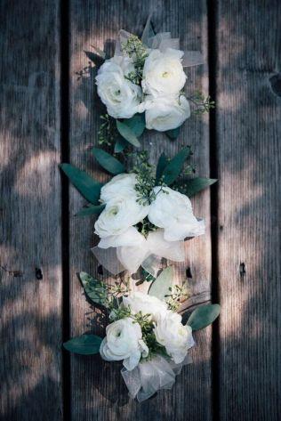 White Ranunculus Corsages