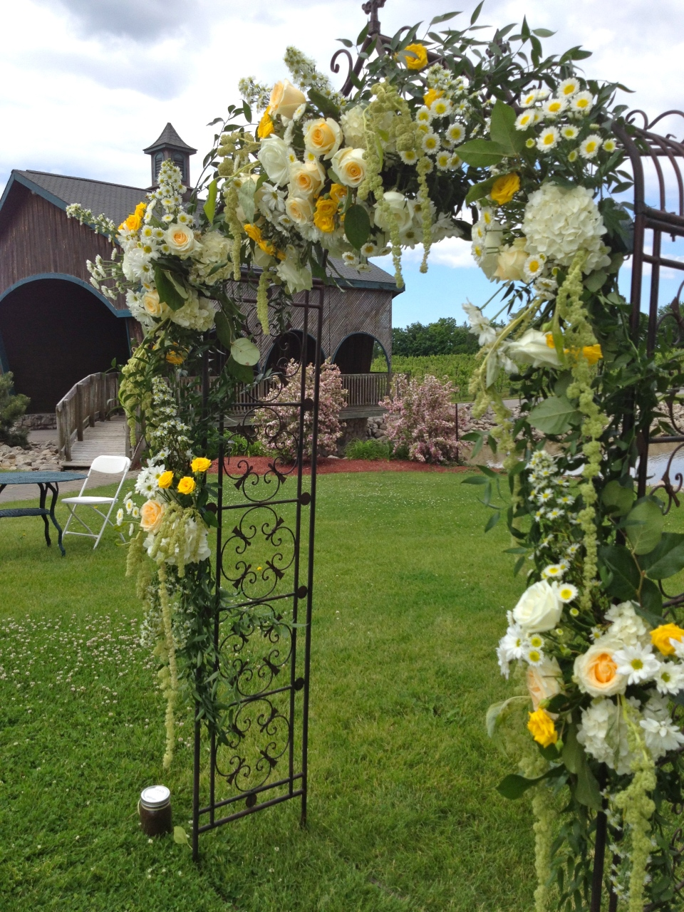 Yellow and Cream Floral Arch