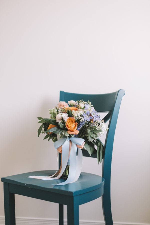 Coral, blush and blue bouquet