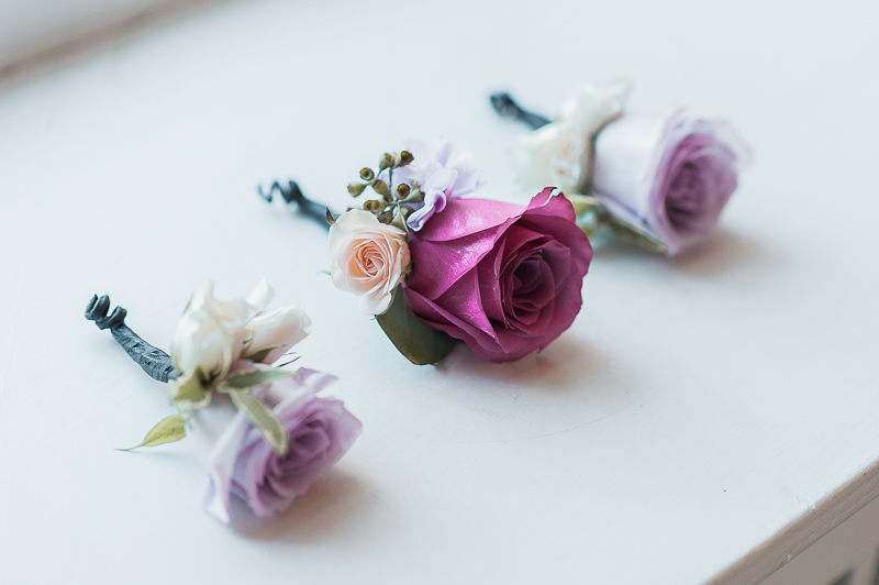 Purple Rose Boutonnieres
