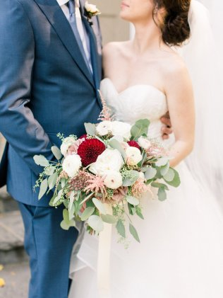 Fall Bridal Bouquet with Burgundy Dahlias