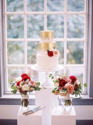 Gold and Burgundy Wedding Cake